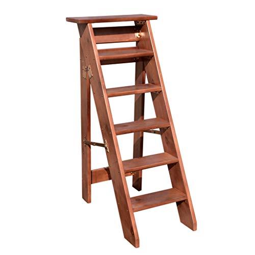 Escalera de Taburete Plegable de 6 peldaños, escaleras para escaleras de Madera para sillas de casa para niños y Adultos, Herramienta Liviana para el jardín de casa Máx. Altura 150kg: 120cm.