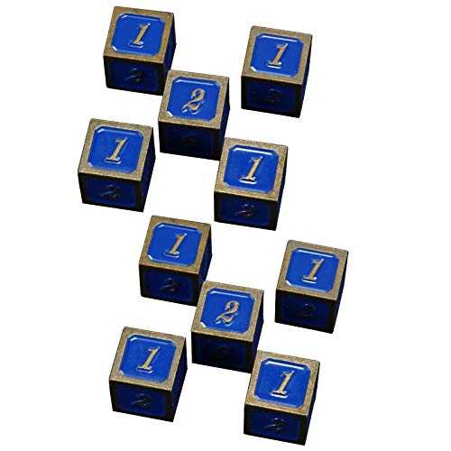 NINAINAI Würfelset Set Bar Mahjong Schach und Karten Würfelsieb (2 Sätze) Metall 6-seitige Würfel Metallwürfel Farbe Würfel Magische Tischspiele. (Color : Blue, Size : 16X16X16mm)
