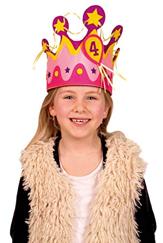 Folat Kindergeburtstags-Krone mit Zahlen Party-Zubehör pink-gelb Einhe