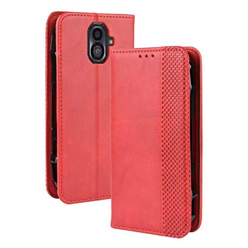 MOONCASE Kyocera Torque G04 Hülle, Premium Leder Hülle Flip Hülle Schutzhülle mit Kartenfach & Ständer Handyhülle für Kyocera Torque G04 - Rot