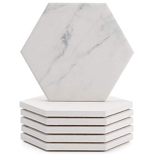 Kuinayouyi Posavasos de cerámica absorbente con diseño de mármol con corcho para evitar que los muebles se manchen y se desborden, juego de seis piezas