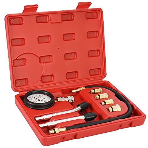 Meroteen Detector el Cilindro para Motores,Comprobador de Compresión,anómetro para bomba de combustible diésel y gasolina de 0-300psi con estuche
