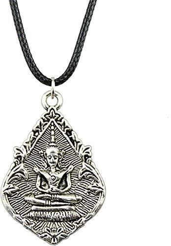 WSBDZYR Co.,ltd Necklace Fashion Vintage Necklace Antique Silver Color 32X22Mm Buddha Statue Pendant Necklace Leather Chain Necklace