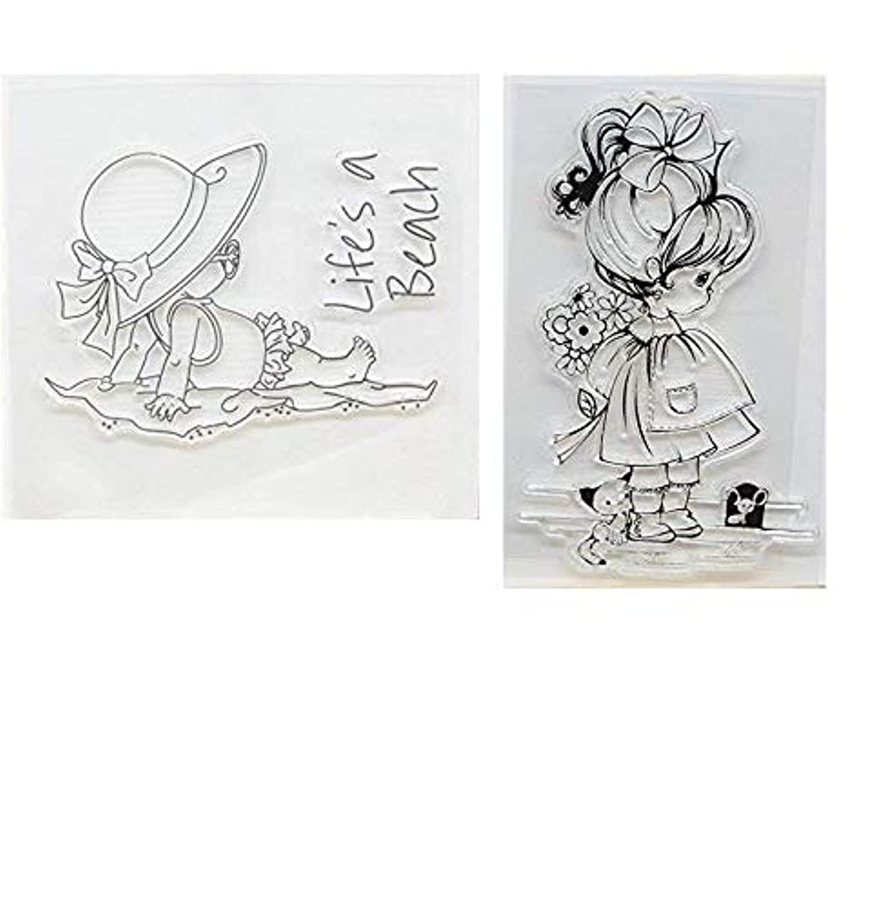Welcome to Joyful Home 2pcs/Set Cute Girl Rubber Clear Stamp for Card Making Decoration and Scrapbooking