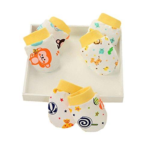 ZGJ Affe 3 Paare Kinder Mädchen Junge Kratzhandschuhe Neugeborene No Scratch Fäustlinge (Gelb)