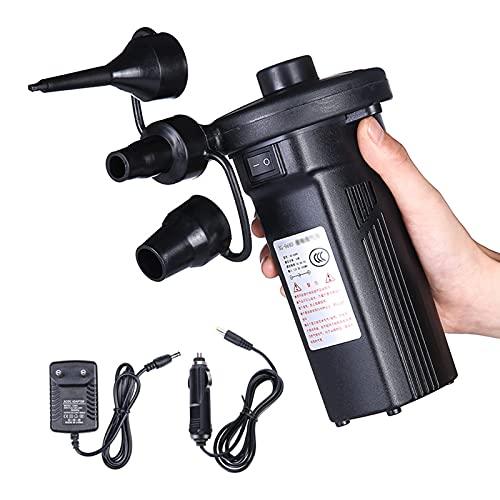 HUOFEIKE Bomba De Aire Portátil, Bomba De Aire Eléctrica para Acampar, Desinflador Inflador con 3 Boquillas Cargador De Coche Bombas Infladoras/Desinfladoras para Barco Inflable Anillo De Natación
