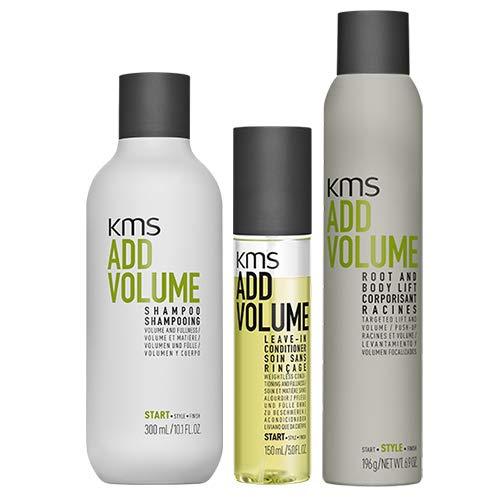 Champú KMS AddVolume, 300 ml, acondicionador de 150 ml y elevador de pies y cuerpo, 200 ml