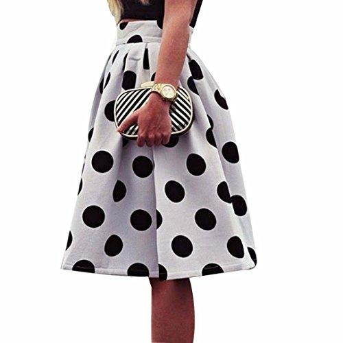 OVERDOSE Damenrock Petticoat Klaviertasten Druckten Rock hohe Taillen dünne Abendkleid Tanzkleid Unterkleid Polka Dot Regenschirm Rock Retro Puff Röcke(Weiß,40)