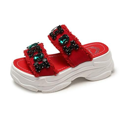 bredLily Woman Beach Slipper Platform Summer Canvas Sandals Wedges Shoes Slippers Platform Rhinestone Sandals Red