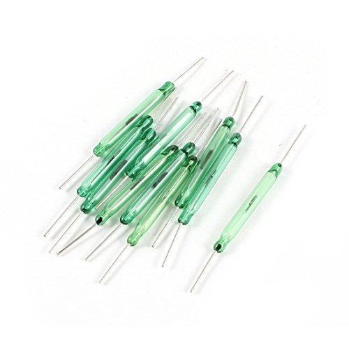 uxcell リードスイッチ シルバートーンラウンドグリーンガラス管 リードスイッチ28mm 10件セット