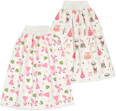 2 Pieces Waterproof Diaper Skirt Shorts for Baby Boys and Girls Breathable Cotton Potty Training product image