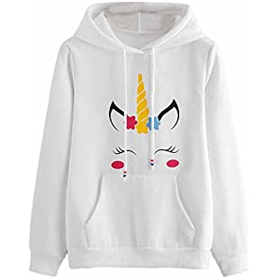 LILICAT Clothing Womens Unicorn Print Long Sleeve Hoodie Sweatshirt Jumper Hooded Pullover Tops, Autumn Winter New (White, Size XL)