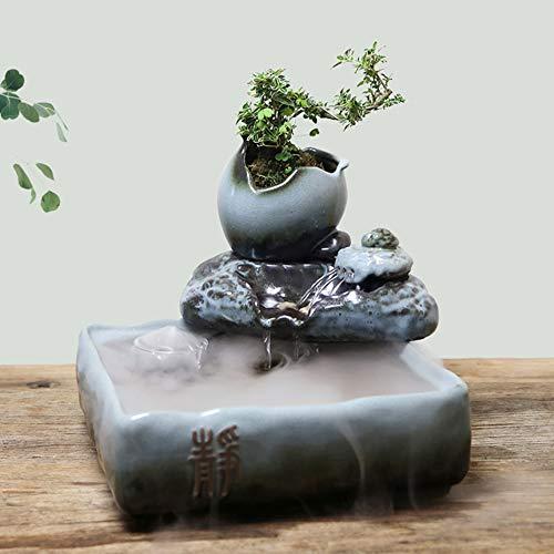 YDYG Fuente de agua china de estilo japonés hecha a mano, de cerámica para interiores Feng Shui Wheel pecera, fuente de escritorio, pecera, decoración para el hogar, sala de estar, oficina, piedra