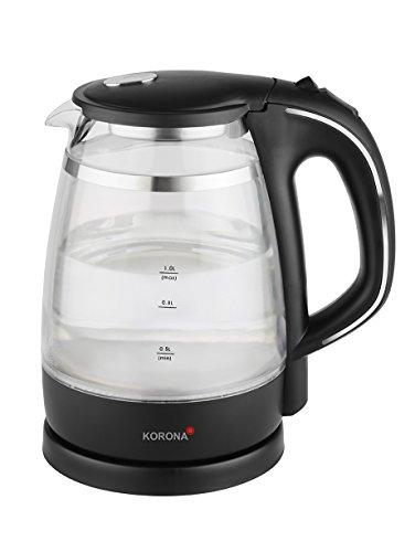 Korona 20610 Wasserkocher | Glas doppelwandig | schwarz | 1 Liter Wasserkocher aus Glas | mit LED-Beleuchtung
