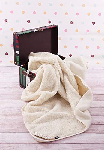 Coperta in lana merino naturale king size per divano o letto, colore beige, 200x 200cm Materiali naturali. Perfetta come regalo.