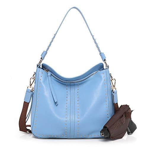 Montana West Hobo Handbag Genuine Leather Concealed Carry Purse Shoulder Bag Light Blue CW-MWL-G005L.BL