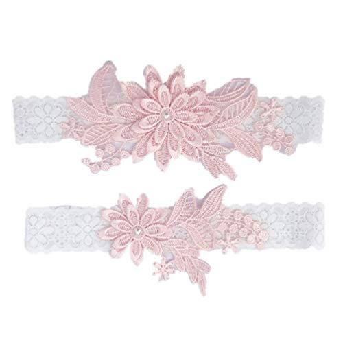 Amosfun 2 piezas decoraciones de pierna de novia de encaje floral elástico...