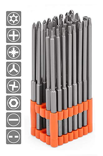 HORUSDY 32-Piece 1/4' Shan Extra Long Security Power Bit Set, 6' Long Tamper Proof Security Bits, S2 Steel.