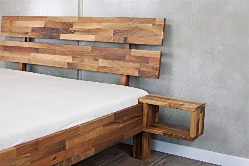 MeinMassivholz Massivholzbett Typ Palma Komfort Nussbaum 120x200 cm + Nachtkonsole (Nussbaum, 120x200 Komforthöhe + Nachtkonsole)