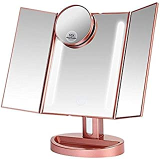 Lighted Makeup Mirror with 10X/3X/2X/1X Magnification, Trifold Vanity Mirror with 22 LED Lights, 180 Degree Free Rotation & Touch Screen Control, Dual Power Supply Travel Countertop Cosmetic Mirror