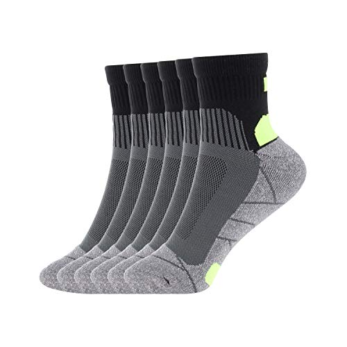 Compression Athletic Socks Men Cushion Crew Socks Comfy Performance Socks 6 pairs by Dadita, Gray?black?green, Medium