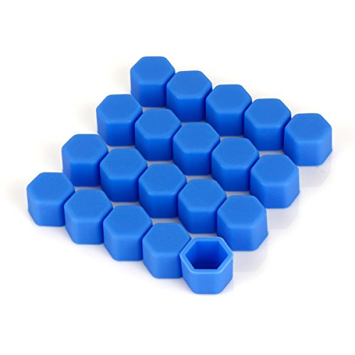 ECYC Silicone Hexagonal Douille Vis Car Hub Hub Cover 20pcs (Bleu 19mm)