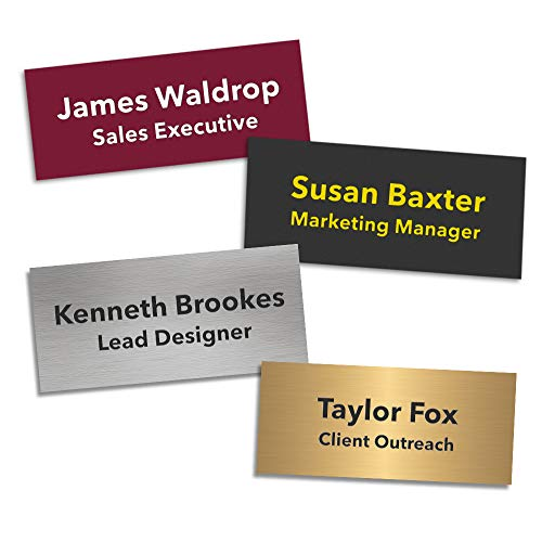 Professional Custom Name Tag/ID Badge (Text Only) | 3 Lines of Laser Engraved Text | Personalized Plastic Name Tag | Great for Employee's, Professionals, or Meetings