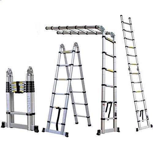 Teleskopleiter 3,8m Aluleiter Ausziehbar Klappbar Leiter 1,9M+1,9M Alu Mehrzweckleiter 3,8M Leiter mit Stützstange 12 Sprossen bis 150 kg Tragfähigkeit (3.8M/1.9M+1.9M Leiter)