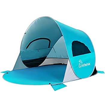 WolfWise UPF 50+ Easy Pop Up 3-4 Person Beach Tent Sport Umbrella Instant Sun Shelter Tent Sun Shade Baby Canopy