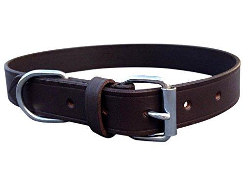Harrington Marley Collier d'entraînement solide pour chiens en cuir véritable souple fait et cousu main moyen/large pour colleys labradors épagneuls Marron