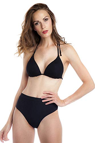 SOL Y PLAYA - Set Bikini Parte de Arriba triangulo Halter Braga de Cintura Alta diseño Relieve disimulado Moderno para Mujer Chica Verano (44- XL, Negro)