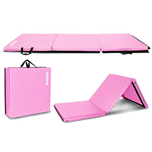 Matladin 6' Folding Tri-fold Gymnastics Gym Exercise Aerobics Mat, 6ft x 2ft x 2in PU Leather Tumbling Mats for Stretching Yoga Cheerleading Martial Arts (Pink)