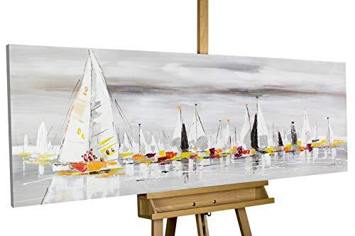 Kunstloft® Cuadro acrílico por los Siete Mares 150x50cm | Original Pintura XXL Pintado a Mano sobre Lienzo | Barcos veleros navegando en el mar Gris | Cuadro acrílico de Arte Moderno con Marco
