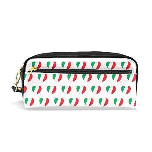 Pencil Case Pouch Hearts Italienische Flaggen Farben Weiß Große Kapazität Pen Bag Make-up Pouch Studenten Briefpapier Zwei Taschen