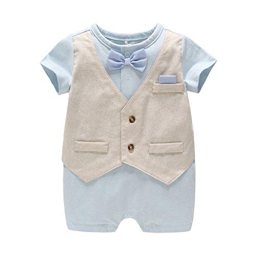 Baby Jongens pak Gentleman Romper korte mouw Jumpsuit met strikje Bodysuit Festival doop bruiloft formele partij outfits 6-9 Months Blauw