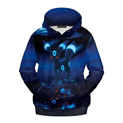 Ruanyi Chapeau Style Femelle Pull Pokemon Monster Fantôme Bleu Animal Cartoon Pulls Sweats À Capuche Sweatshirts pour Femmes Hommes (Color : Blue, Size : M)