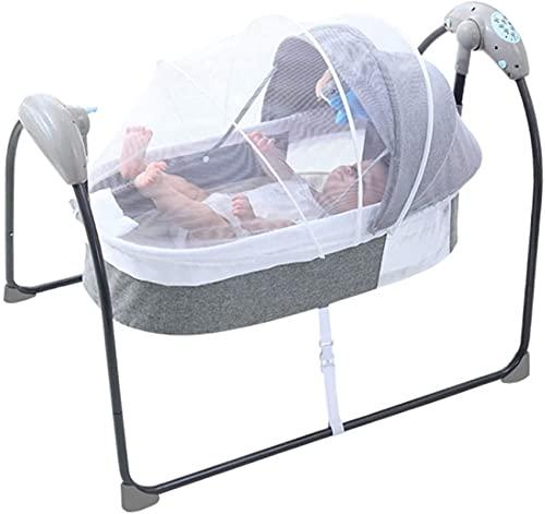 YQLWX Culla per bambini con telecomando elettrico per culla del bambino automatico a 5 velocità, culla per bambini da 0 a 12 mesi (grigio) (colore: grigio)