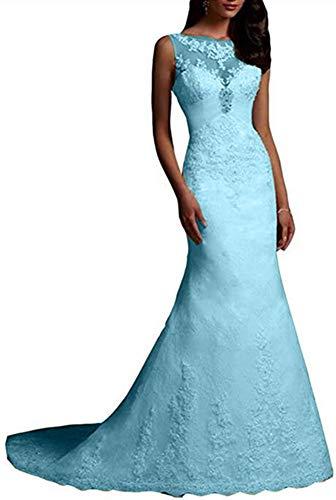 Emmani Damen Brautkleid, lange Meerjungfrau, Spitze, elfenbeinfarben Gr. 42, hellblau