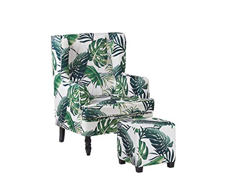 Beliani Classic Armchair with Footstool Leaf Pattern Wooden Legs White and Green Sandset