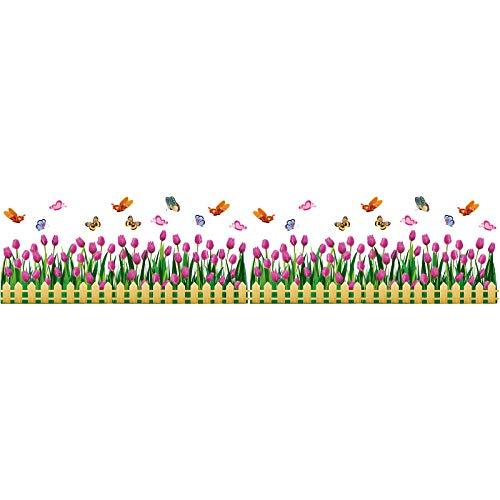 Tulpe Zaun Glas Aufkleber Vinyl DIY Blume Wandtattoo Wohnzimmer Kinderzimmer Schaufenster Haus Dekoration