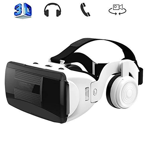 Mobile VR, Immersive Gaming Experience Casque pour iPhone et Android Jouez à Vos Jeux Mobiles 360 Films avec Soft Toutes Les Applications Smartphone et Confortable RÉCENTS,Blanc