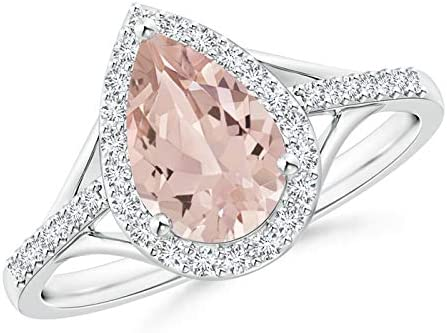Pear-Shaped Morganite Ring with 9x6mm 5 popular ! Super beauty product restock quality top! Halo Diamond