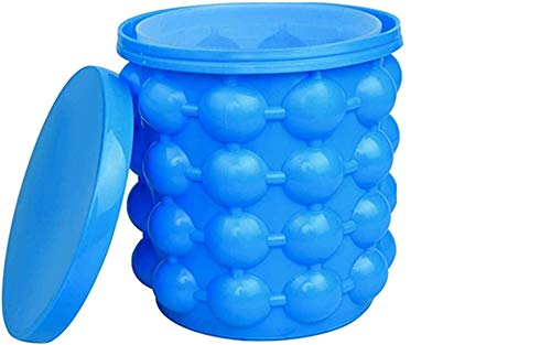 Large 2 in 1 Silicone Ice Bucket & Ice Mold with lid,Silicon Ice Cube Maker Genie, Portable Silicon Ice Cube Maker (Blue)