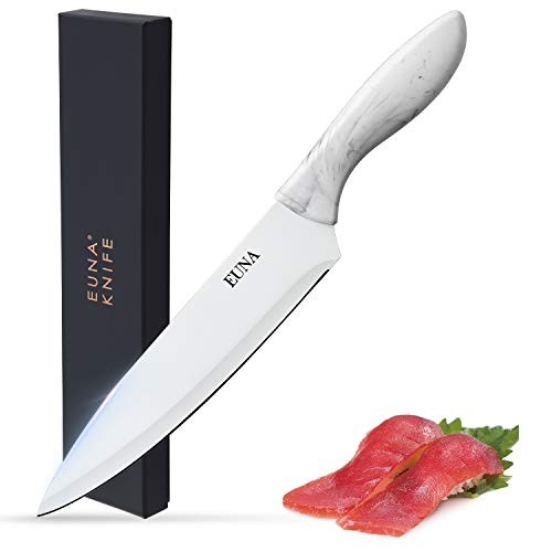 Kitchen Knife 8 inch Chefs Knives Elegant White Stainless Steel Blade Ultra Sharp Balanced Handle Maneuverability for Culinary Cooking Cutting Slicing Chopping with Sheath and Gift Box