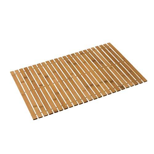 Alfombra de baño de bambú marrón nórdica para Cuarto de baño de 60 x 40 cm Basic - LOLAhome