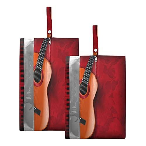 Hunihuni - Bolsa de viaje para zapatos de música retro para guitarra y piano, impermeable, bolsa organizadora con cremallera, 2 unidades