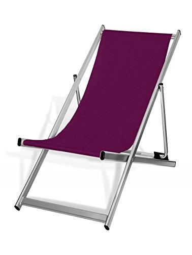 MultiBrands Liegestuhl, klappbar, Aluminium, Sitzbezug Aubergine, Silber lackiert