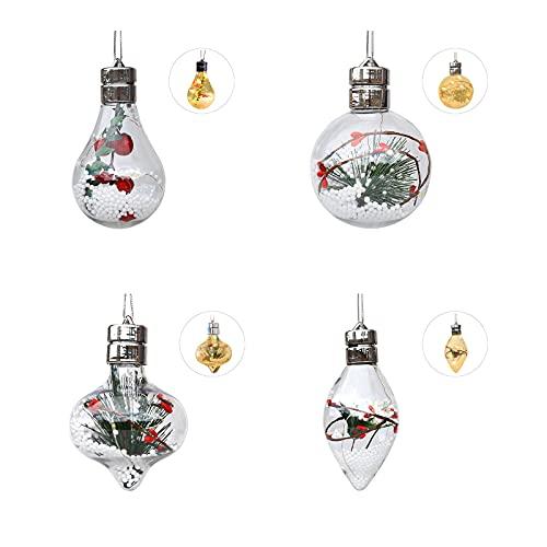 HJHIWE - 4 palline luminose per albero di Natale, con luci e palline di Natale trasparenti, riempibili per albero di Natale, in plastica, per Capodanno, regalo di Natale