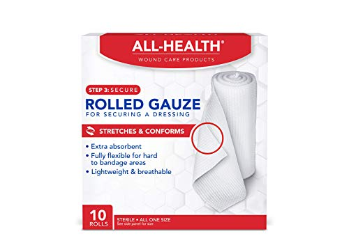 All Health Rolled Gauze Pads, 3 X 2.5 Yds | for Cleaning or Covering Wounds as Wound Dressing, Helps Prevent Infection, 10 Rolls