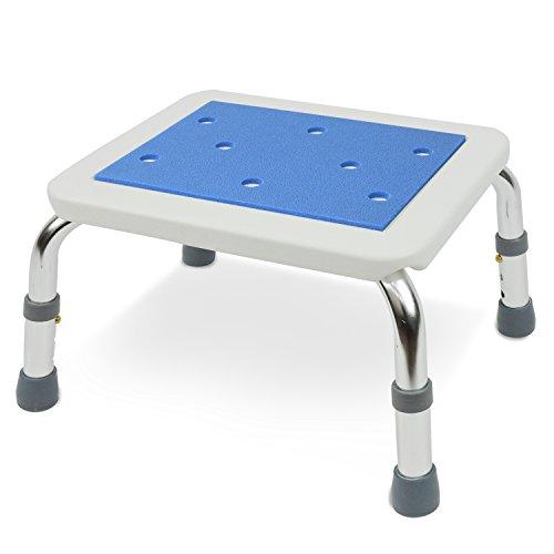 コンパクトなお風呂椅子 (低座高タイプ・高さ3段階調節) 軽量アルミ製 ブルー色